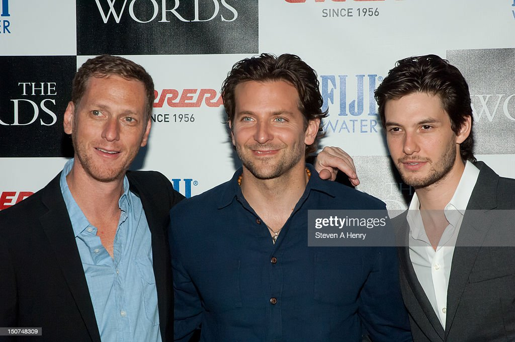 Filmmaker Brian Klugman, actors <a gi-track='captionPersonalityLinkClicked' href=/galleries/search?phrase=Bradley+Cooper&family=editorial&specificpeople=680224 ng-click='$event.stopPropagation()'>Bradley Cooper</a> and Ben Barne attend 'The Words' screening at Goose Creek on August 25, 2012 in East Hampton, New York.