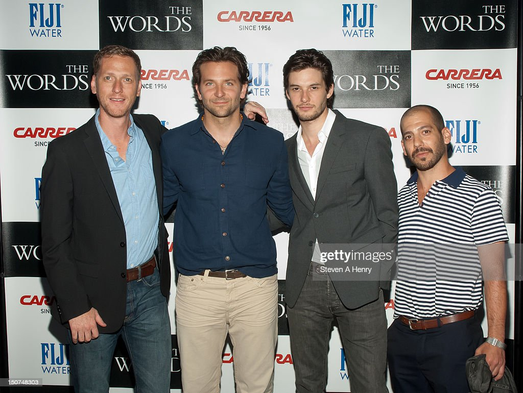 Filmmaker Brian Klugman, actors <a gi-track='captionPersonalityLinkClicked' href=/galleries/search?phrase=Bradley+Cooper&family=editorial&specificpeople=680224 ng-click='$event.stopPropagation()'>Bradley Cooper</a>, <a gi-track='captionPersonalityLinkClicked' href=/galleries/search?phrase=Ben+Barnes&family=editorial&specificpeople=2258333 ng-click='$event.stopPropagation()'>Ben Barnes</a> and filmmaker Lee Sternthal attend 'The Words' screening at Goose Creek on August 25, 2012 in East Hampton, New York.