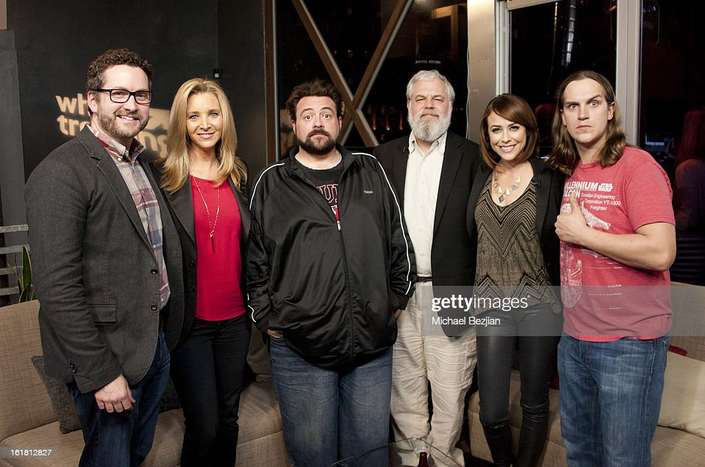 Filmmaker Burnie Burns, actress <a gi-track='captionPersonalityLinkClicked' href=/galleries/search?phrase=Lisa+Kudrow&family=editorial&specificpeople=202079 ng-click='$event.stopPropagation()'>Lisa Kudrow</a>, director Kevin Smith, chairman of Newtek Tim Genison, TV personality <a gi-track='captionPersonalityLinkClicked' href=/galleries/search?phrase=Shira+Lazar&family=editorial&specificpeople=4120980 ng-click='$event.stopPropagation()'>Shira Lazar</a> and actor <a gi-track='captionPersonalityLinkClicked' href=/galleries/search?phrase=Jason+Mewes&family=editorial&specificpeople=754495 ng-click='$event.stopPropagation()'>Jason Mewes</a> attend The Future Of Online Television at What's Trending Studios on February 15, 2013 in Los Angeles, California.