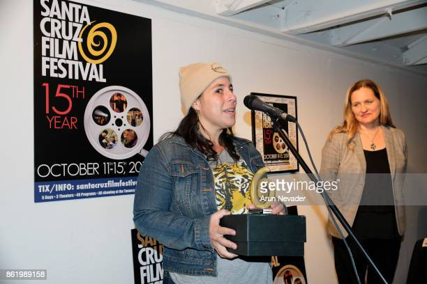 Filmmaker Cambria Matlow receives a festival award for her film Woodsrider at the Santa Cruz Film Festival at Tannery Arts Center on October 15 2017...