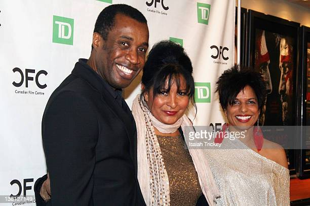 Filmmaker Clement Virgo Pam Grier and actress Sharon Lewis attend An Evening With Pam Grier for 2012 Black History Month at Cineplex Odeon Varsity...