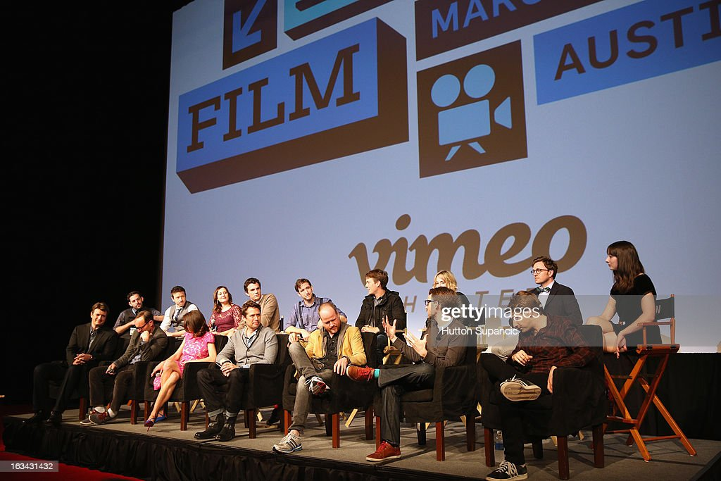 Filmmaker Daniel Kaminsky, actors Joshua Zar, Emma Bates, Nick Kocher, Brian McElhaney, Spencer Treat Clark, Ashley Johnson, Tom Lenk and Jillian Morgese (front row L-R) Actors Nathan Fillion, Clark Gregg, Amy Acker, Alexis Denisof, writer/director Joss Whedon, Adam B. Vary, writer Entertainment Weekly and actor Fran Kranz speak onstage at the Much Ado About Much Ado Panel during the 2013 SXSW Music, Film + Interactive Festival at Austin Convention Center on March 9, 2013 in Austin, Texas.
