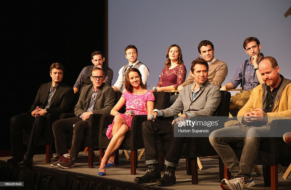 Filmmaker Daniel Kaminsky, actors Joshua Zar, Emma Bates, Nick Kocher, Brian McElhaney (front row L-R) Actors Nathan Fillion, Clark Gregg, Amy Acker, Alexis Denisof, writer/director Joss Whedon speak onstage at the Much Ado About Much Ado Panel during the 2013 SXSW Music, Film + Interactive Festival at Austin Convention Center on March 9, 2013 in Austin, Texas.