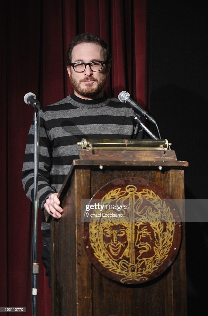 Filmmaker <a gi-track='captionPersonalityLinkClicked' href=/galleries/search?phrase=Darren+Aronofsky&family=editorial&specificpeople=841696 ng-click='$event.stopPropagation()'>Darren Aronofsky</a> addresses the audience during the 2013 First Time Fest closing night awards at The Players Club on March 4, 2013 in New York City.