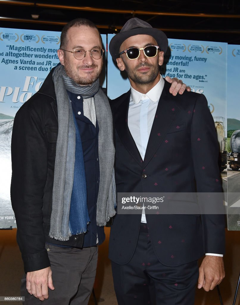 Filmmaker Darren Aronofsky (L) and director JR attend the premiere of Cohen Media Group's 'Faces Places' at the Pacific Design Center on October 11, 2017 in West Hollywood, California.