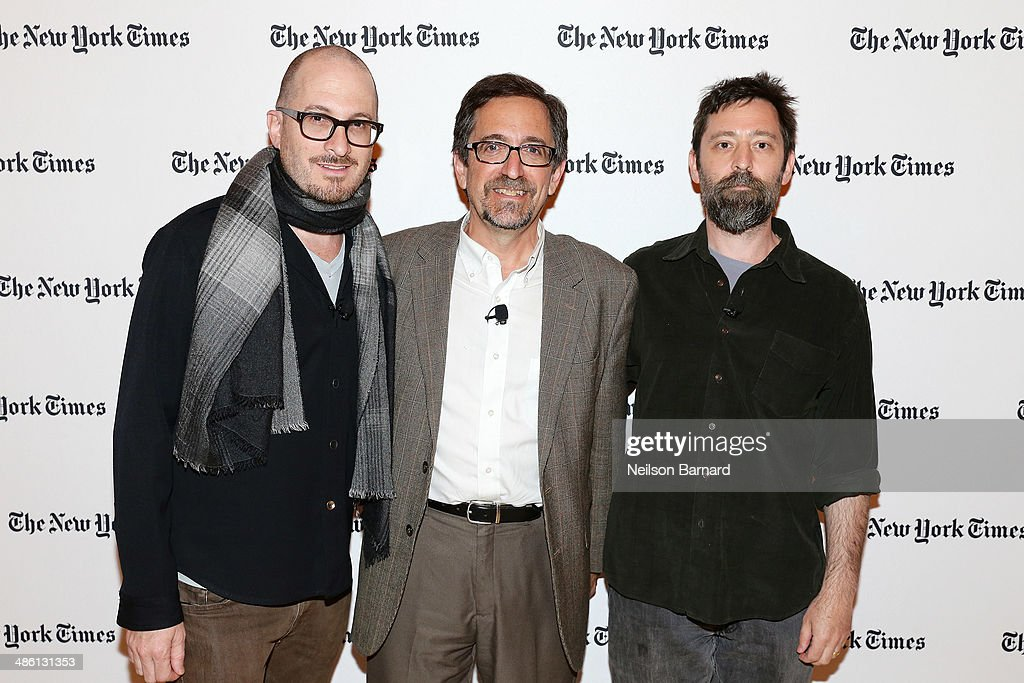 Filmmaker <a gi-track='captionPersonalityLinkClicked' href=/galleries/search?phrase=Darren+Aronofsky&family=editorial&specificpeople=841696 ng-click='$event.stopPropagation()'>Darren Aronofsky</a>, Writer of Dot Earth Blog at The New York Times Andrew Revkin, and filmmaker Ari Handel attend the New York Times Cities for Tomorrow Conference on April 22, 2014 in New York City.