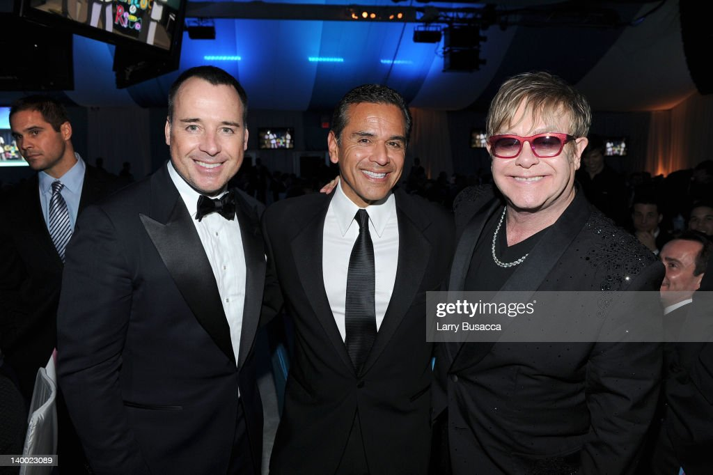 Filmmaker David Furnish Mayor Antonio Villaraigosa and Sir Elton John attend the 20th Annual Elton John AIDS Foundation Academy Awards Viewing Party...
