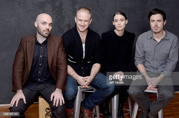 Filmmaker David Lowery actors Ben Foster Rooney Mara and Casey Affleck pose for a portrait during the 2013 Sundance Film Festival at the WireImage...