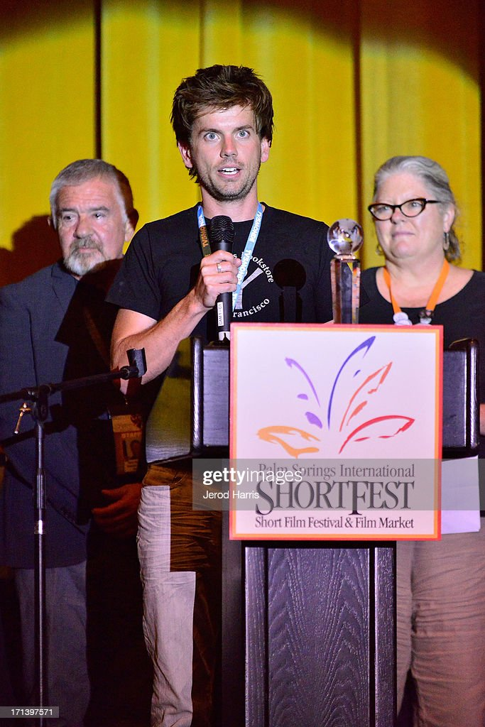 Filmmaker David McCracken accepts the Alexis Award for best emerging student filmmaker at the Palm Springs ShortFest closing night gala on June 23, 2013 in Palm Springs, California.