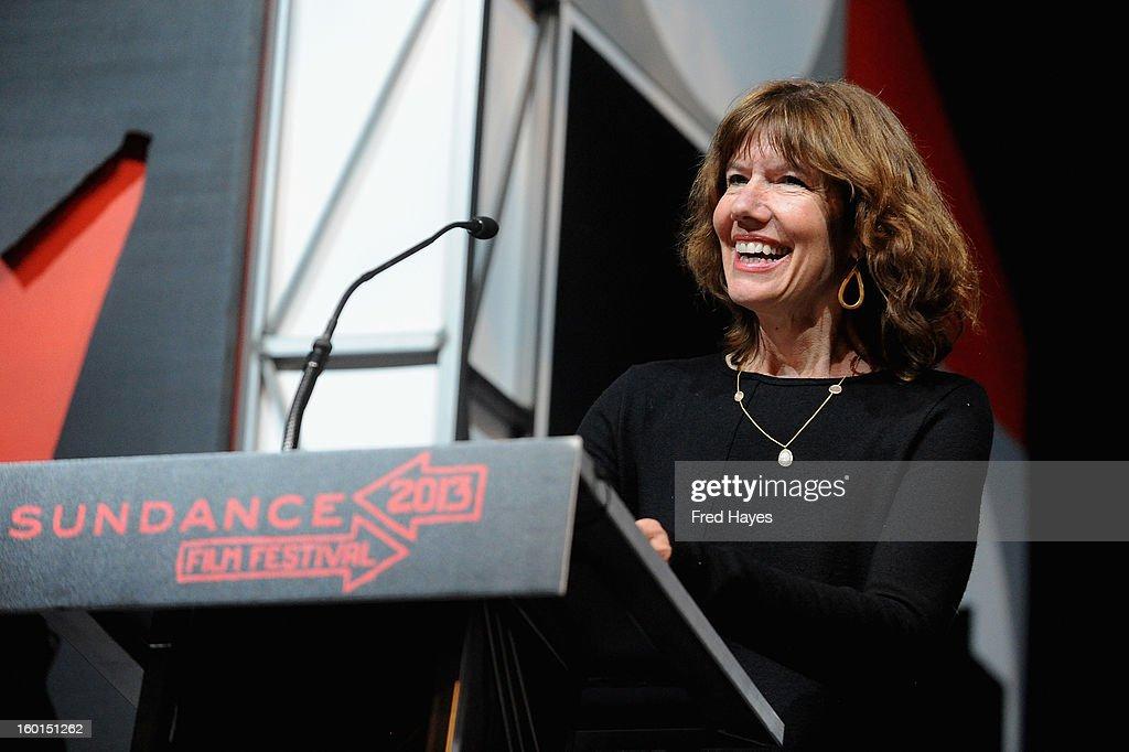 Filmmaker Diane Weyermann speaks onstage at the Awards Night Ceremony during the 2013 Sundance Film Festival at Basin Recreation Field House on January 26, 2013 in Park City, Utah.