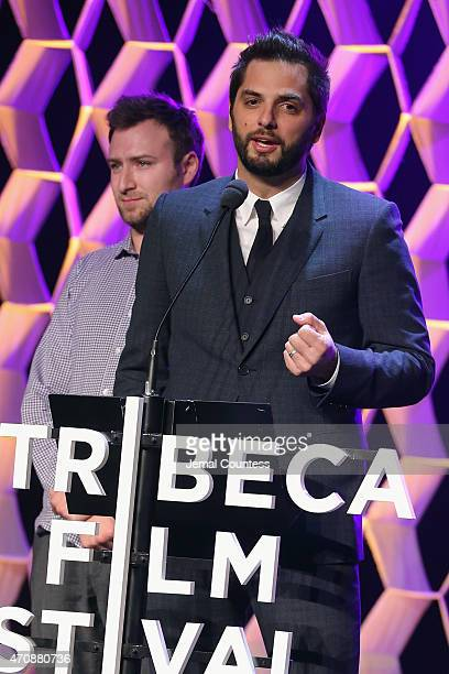Filmmaker Diego Bunuel speaks onstage at TFF Awards Night during the 2015 Tribeca Film Festival at Spring Studio on April 23 2015 in New York City