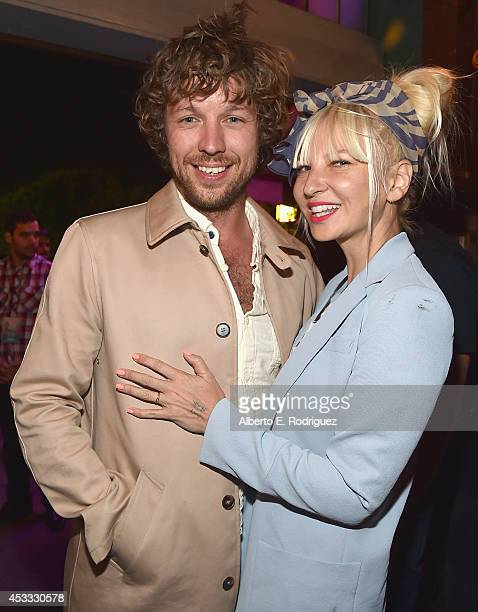 Filmmaker Erik Anders Lang and singer Sia attend the after party for the premiere of RADIUSTWC's 'The One I Love' at Umami Burger on August 7 2014 in...