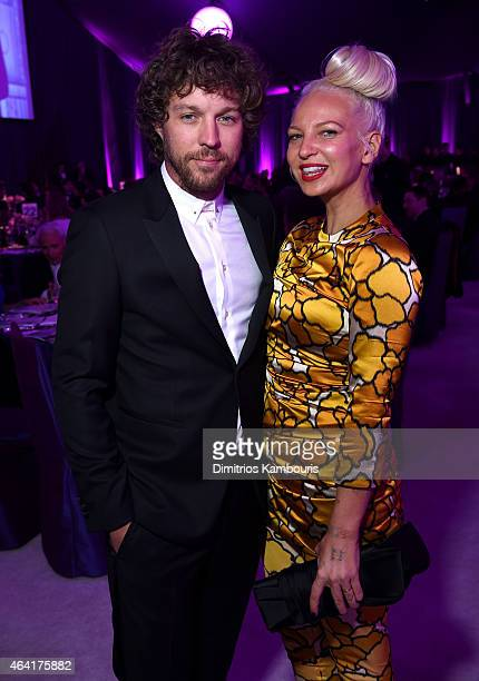 Filmmaker Erik Anders Lang and singer/songwriter Sia attend the 23rd Annual Elton John AIDS Foundation Academy Awards Viewing Party on February 22...