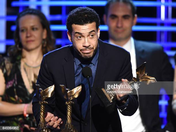 Filmmaker Ezra Edelman accepts the Best Documentary Feature award for 'OJ Made in America' onstage during the 2017 Film Independent Spirit Awards at...