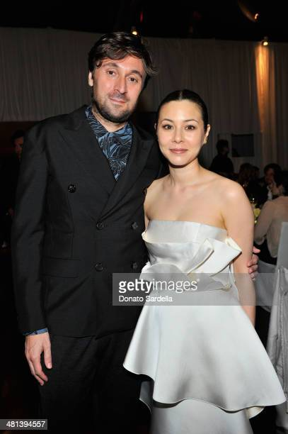 Filmmaker Francesco Vezzoli and actress China Chow attend MOCA's 35th Anniversary Gala presented by Louis Vuitton at The Geffen Contemporary at MOCA...