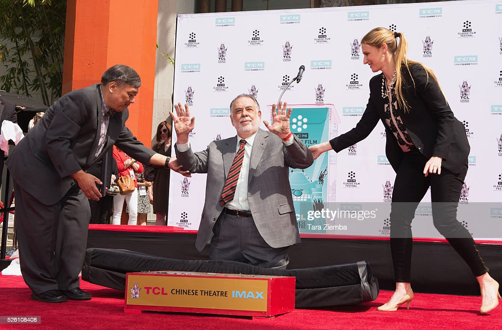 Filmmaker <a gi-track='captionPersonalityLinkClicked' href=/galleries/search?phrase=Francis+Ford+Coppola&family=editorial&specificpeople=204241 ng-click='$event.stopPropagation()'>Francis Ford Coppola</a> shows his hands during the Hand/Footprint Ceremony by TCM at TCL Chinese Theatre IMAX on April 29, 2016 in Hollywood, California.