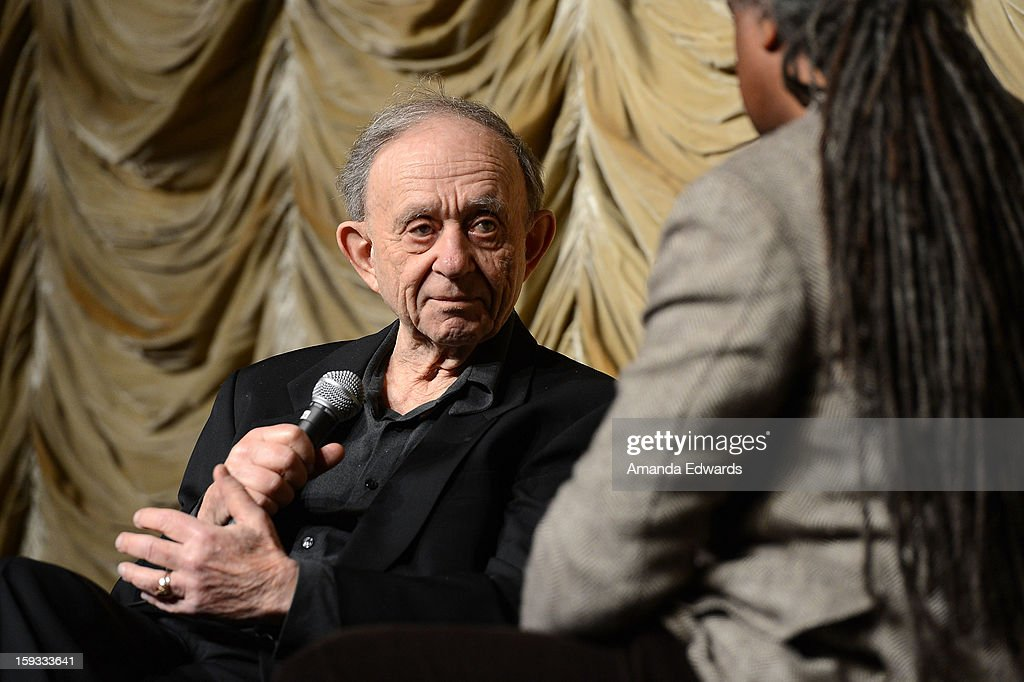 Filmmaker Frederick Wiseman (L) and Film Independent at LACMA film curator <a gi-track='captionPersonalityLinkClicked' href=/galleries/search?phrase=Elvis+Mitchell&family=editorial&specificpeople=567104 ng-click='$event.stopPropagation()'>Elvis Mitchell</a> attend the Film Independent at LACMA - Spotlight on Frederick Wiseman event at Bing Theatre At LACMA on January 11, 2013 in Los Angeles, California.