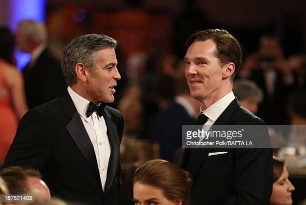 Filmmaker George Clooney and actor Benedict Cumberbatch attend the 2013 BAFTA LA Jaguar Britannia Awards presented by BBC America at The Beverly...