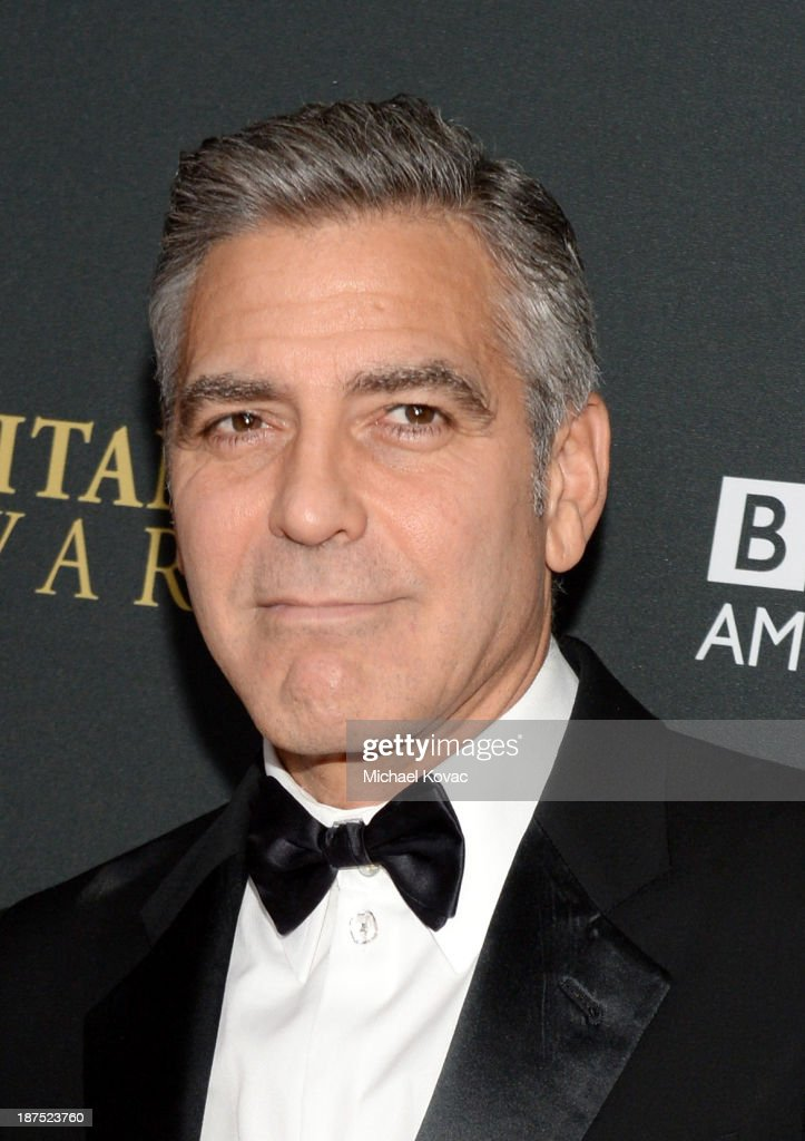 Filmmaker <a gi-track='captionPersonalityLinkClicked' href=/galleries/search?phrase=George+Clooney&family=editorial&specificpeople=202529 ng-click='$event.stopPropagation()'>George Clooney</a> with Stylebop.com attends the 2013 BAFTA LA Jaguar Britannia Awards presented by BBC America at The Beverly Hilton Hotel on November 9, 2013 in Beverly Hills, California.
