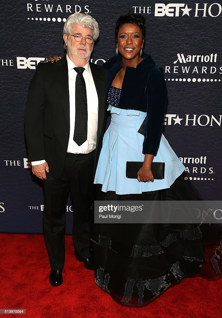 Filmmaker George Lucas and honoree Mellody Hobson attend the BET Honors 2016 at Warner Theatre on March 5 2016 in Washington DC