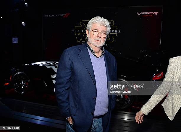Filmmaker George Lucas arrives at the premiere of Walt Disney Pictures' and Lucasfilm's 'Star Wars The Force Awakens' sponsored by Dodge at the Dolby...