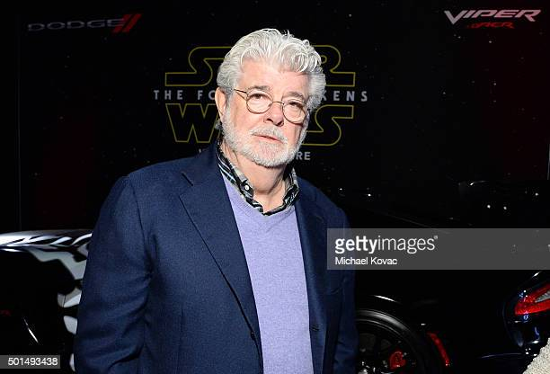 Filmmaker George Lucas attends the premiere of Walt Disney Pictures and Lucasfilm's 'Star Wars The Force Awakens' sponsored by Dodge at the Dolby...