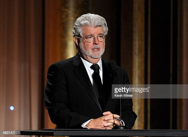 Filmmaker George Lucas speaks onstage during the Academy of Motion Picture Arts and Sciences' Governors Awards at The Ray Dolby Ballroom at Hollywood...