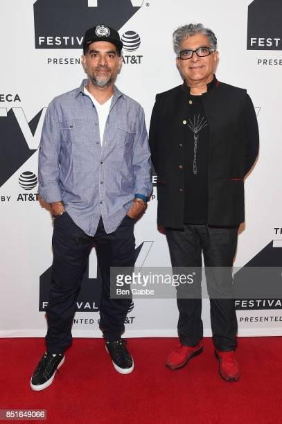Filmmaker Gotham Chopra and Deepak Chopra attend the Tribeca TV Festival season premiere of Religion of Sports at Cinepolis Chelsea on September 22...