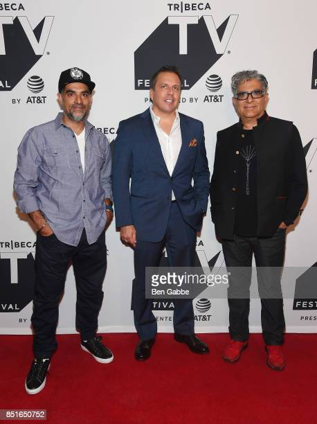 Filmmaker Gotham Chopra Christopher Long and Deepak Chopra attend the Tribeca TV Festival season premiere of Religion of Sports at Cinepolis Chelsea...