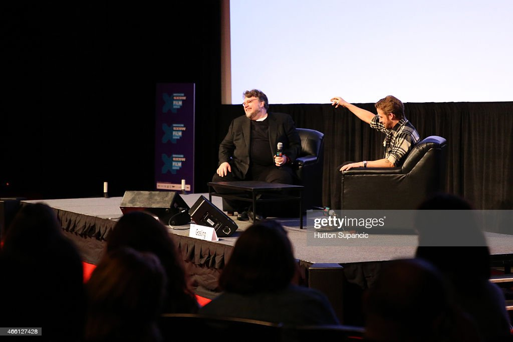 Filmmaker Guillermo del Toro (L) and actor Ryan Gosling speak onstage during 'A Conversation with Ryan Gosling' during the 2015 SXSW Music, Film + Interactive Festival at Austin Convention Center on March 13, 2015 in Austin, Texas.
