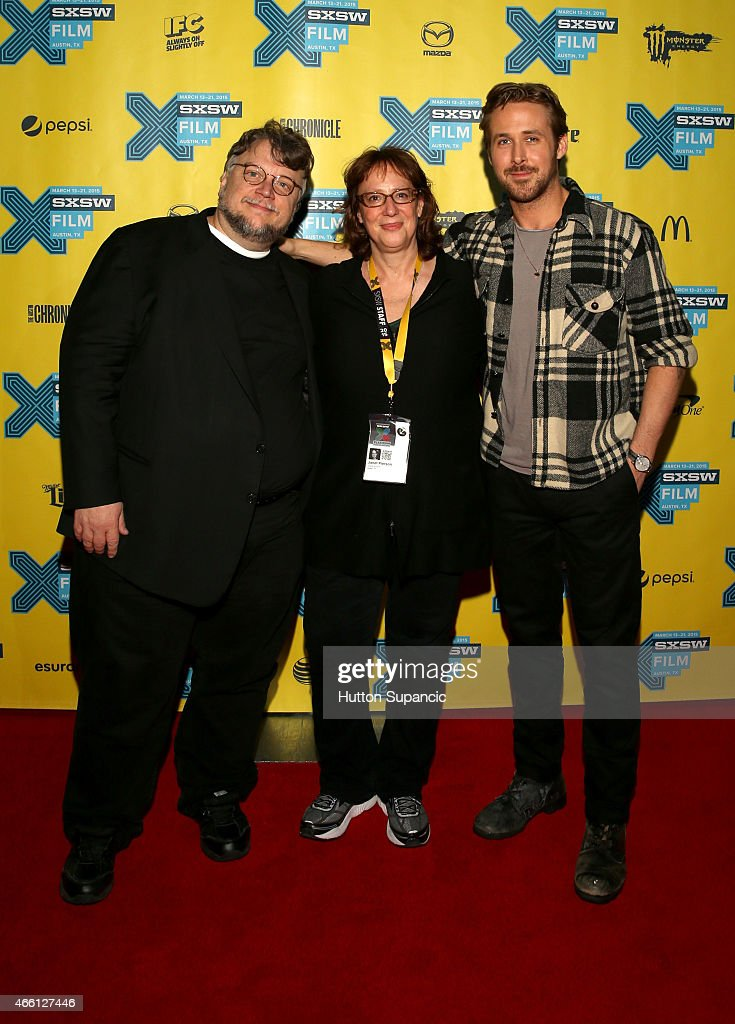 Filmmaker Guillermo del Toro, SXSW Film Festival Director Janet Pierson and actor Ryan Gosling attend 'A Conversation with Ryan Gosling' during the 2015 SXSW Music, Film + Interactive Festival at Austin Convention Center on March 13, 2015 in Austin, Texas.