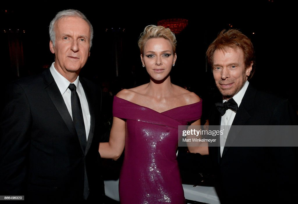 Filmmaker James Cameron, Her Serene Highness Princess Charlene of Monaco and producer Jerry Bruckheimer attend 2017 Princess Grace Awards Gala at The Beverly Hilton Hotel on October 25, 2017 in Beverly Hills, California.
