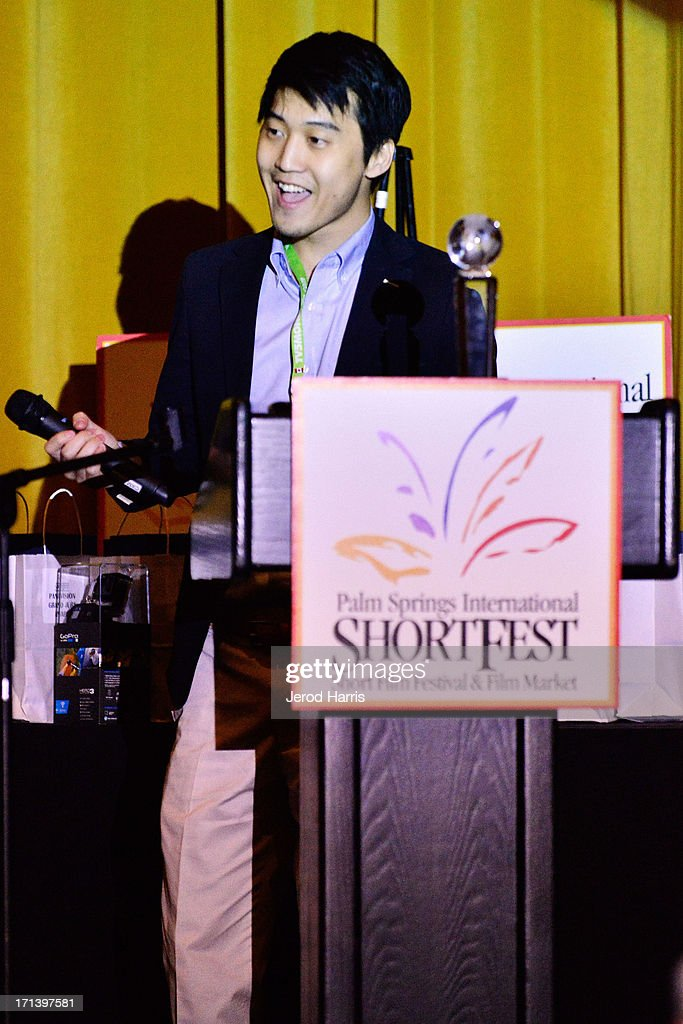Filmmaker Jason Lee accepts the award for Best Documentary Short for his movie 'Letters From Pyongyang' at the Palm Springs ShortFest closing night gala on June 23, 2013 in Palm Springs, California.