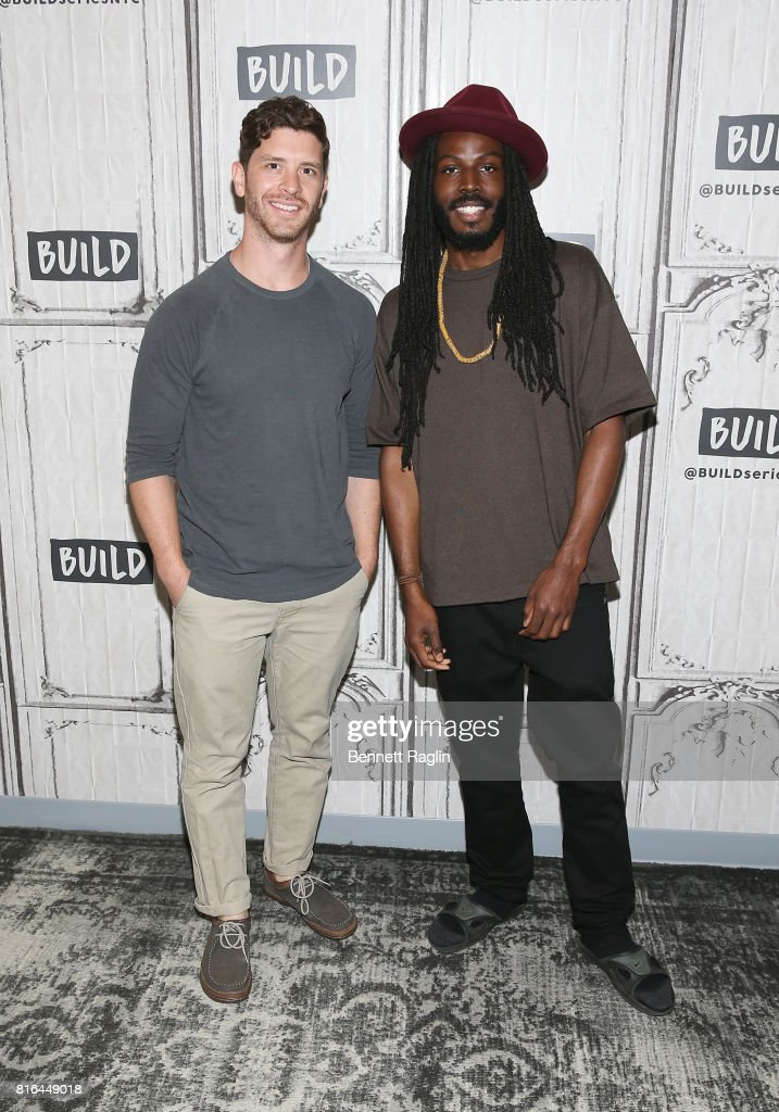 Filmmaker Jason Zeldes and spoken word artist Donte Clark attend Build to discuss the documentary 'Romeo Is Bleeding' at Build Studio on July 17, 2017 in New York City.