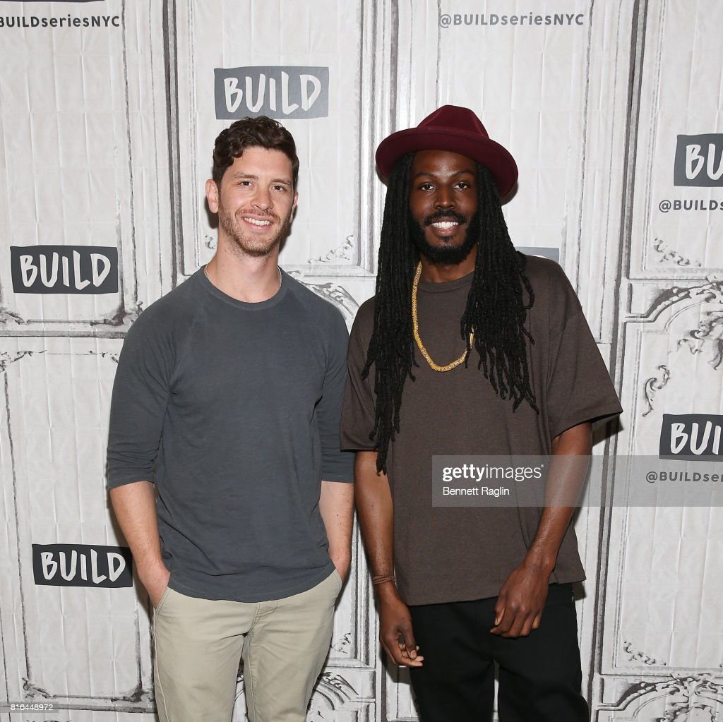 Filmmaker Jason Zeldes and spokenword artist Donte Clark attend Build to discuss the documentary 'Romeo Is Bleeding' at Build Studio on July 17, 2017 in New York City.