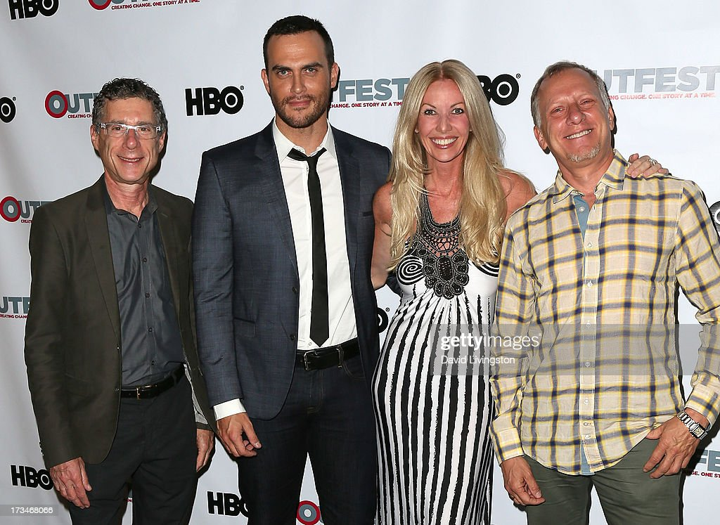 Filmmaker Jeffrey Friedman, actor <a gi-track='captionPersonalityLinkClicked' href=/galleries/search?phrase=Cheyenne+Jackson&family=editorial&specificpeople=216481 ng-click='$event.stopPropagation()'>Cheyenne Jackson</a>, amfAR board member Regan Hofmann and filmmaker <a gi-track='captionPersonalityLinkClicked' href=/galleries/search?phrase=Rob+Epstein&family=editorial&specificpeople=2669345 ng-click='$event.stopPropagation()'>Rob Epstein</a> attend the 2013 Outfest Film Festival's amfAR panel at the DGA Theater on July 14, 2013 in Los Angeles, California.