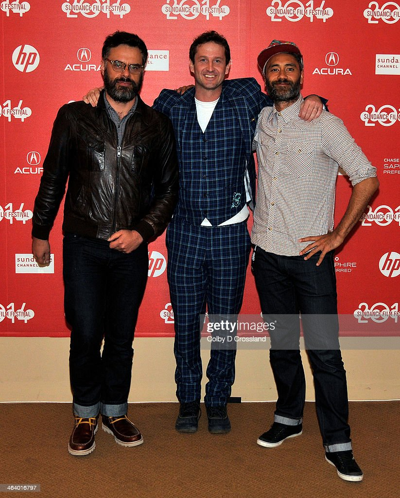 Filmmaker Jemaine Clement, Sundance Film Festival Director of Programming Trevor Groth, and filmmaker Taika Waititi attend 'What We Do In The Shadows' premiere at the Egyptian Theatre during the 2014 Sundance Film Festival on January 19, 2014 in Park City, Utah.