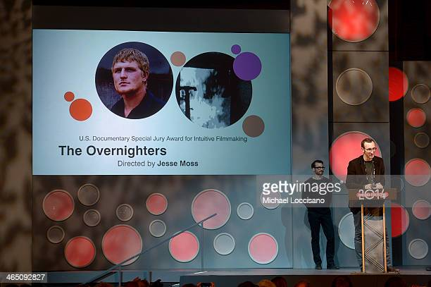 Filmmaker Jesse Moss accepts the US Documentary Special Jury Award for Intuitive Filmmaking for the film 'The Overnighters' onstage at the Awards...