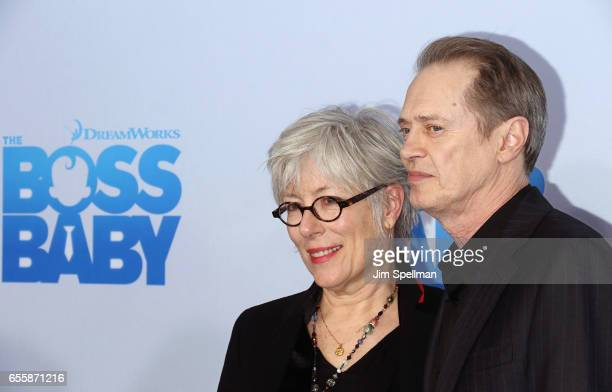 Filmmaker Jo Andres and actor Steve Buscemi attend 'The Boss Baby' New York premiere at AMC Loews Lincoln Square 13 theater on March 20 2017 in New...