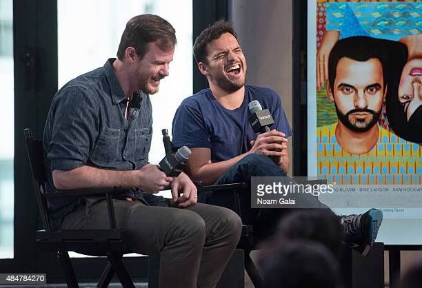 Filmmaker Joe Swanberg and actor Jake Johnson attend AOL's BUILD Speaker Series 'Digging For Fire' at AOL Studios In New York on August 21 2015 in...