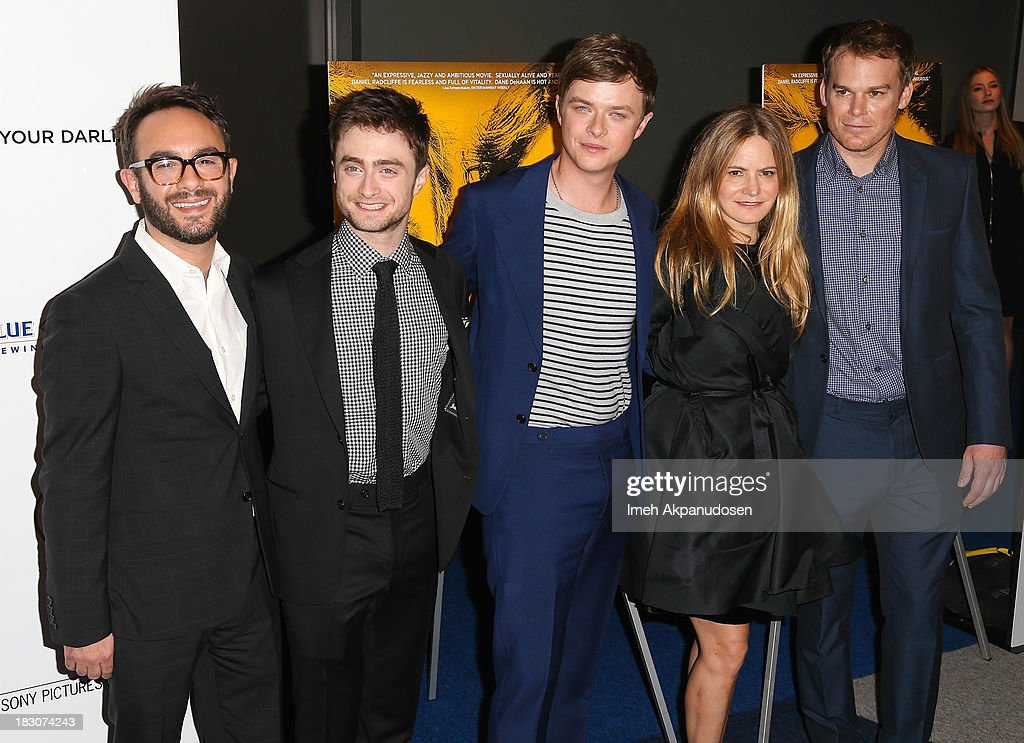 Filmmaker John Krokidas with actors Daniel Radcliffe, Dane DeHaan, Jennifer Jason Leigh, and Michael C. Hall attend the premiere of Sony Pictures Classics' 'Kill Your Darlings' at Writers Guild Theater on October 3, 2013 in Beverly Hills, California.