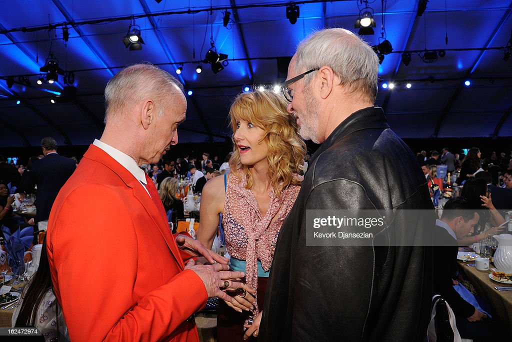 Filmmaker <a gi-track='captionPersonalityLinkClicked' href=/galleries/search?phrase=John+Waters+-+Director&family=editorial&specificpeople=209202 ng-click='$event.stopPropagation()'>John Waters</a>, actress <a gi-track='captionPersonalityLinkClicked' href=/galleries/search?phrase=Laura+Dern&family=editorial&specificpeople=204203 ng-click='$event.stopPropagation()'>Laura Dern</a> and photographer <a gi-track='captionPersonalityLinkClicked' href=/galleries/search?phrase=Greg+Gorman&family=editorial&specificpeople=3034832 ng-click='$event.stopPropagation()'>Greg Gorman</a> attend the 2013 Film Independent Spirit Awards at Santa Monica Beach on February 23, 2013 in Santa Monica, California.