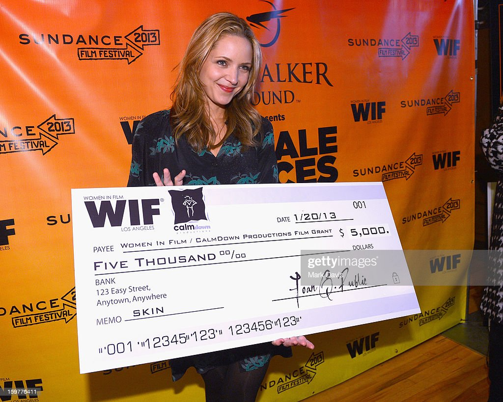 Filmmaker Jordana Spiro accepts award check for Women In Film / CalmDown Productions grant during the Women In Film's Sundance Filmmakers Panel presented by Skywalker Sound on January 20, 2013 in Park City, Utah.