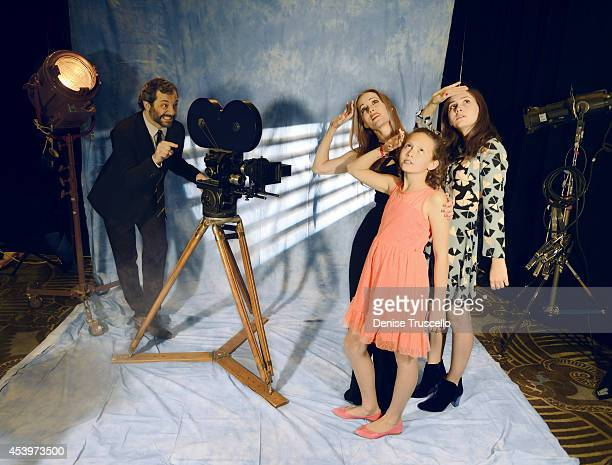 Filmmaker Judd Apatow and actress and wife Leslie Mann are photographed with their daughters Maude Apatow and Iris Apatow for People Magazine on...