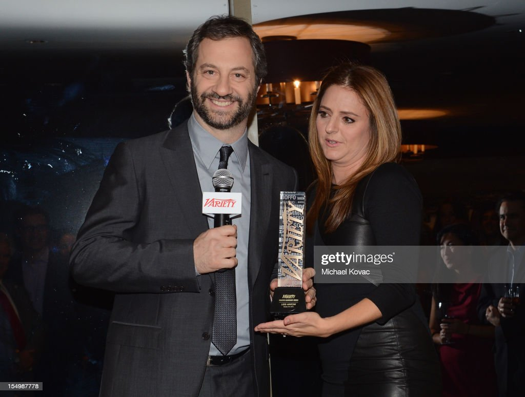 Filmmaker <a gi-track='captionPersonalityLinkClicked' href=/galleries/search?phrase=Judd+Apatow&family=editorial&specificpeople=854225 ng-click='$event.stopPropagation()'>Judd Apatow</a> and writer Annie Mumolo attend Variety's Hollywoods New Leaders presented by Ciroc Vodka at Soho House on October 29, 2012 in West Hollywood, California.
