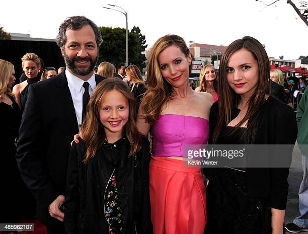 Filmmaker Judd Apatow Iris Apatow actress Leslie Mann and Maude Apatow attend the premiere of Twentieth Century Fox's 'The Other Woman' at Regency...