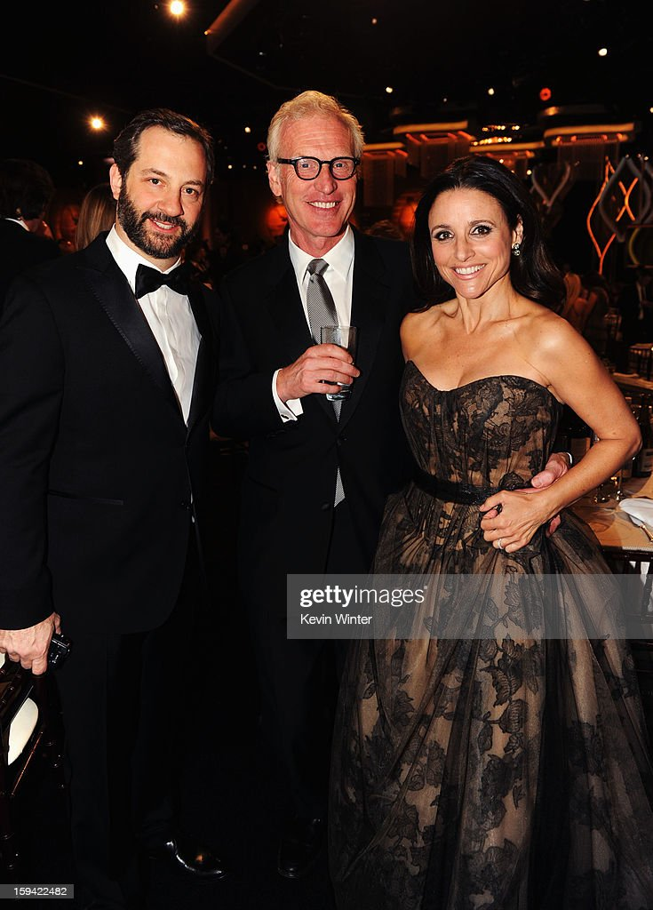 Filmmaker Judd Apatow, producer Brad Hall and actress Julia Louis-Dreyfus attend the 70th Annual Golden Globe Awards Cocktail Party held at The Beverly Hilton Hotel on January 13, 2013 in Beverly Hills, California.