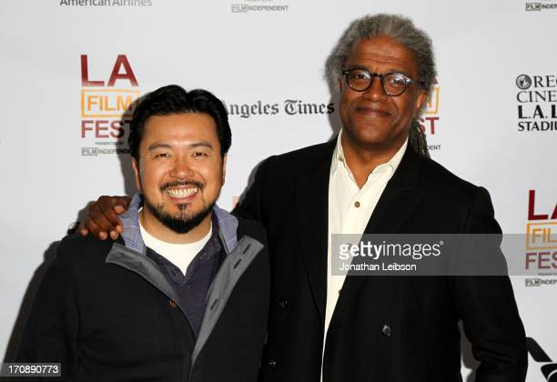 Filmmaker Justin Lin and moderator Elvis Mitchell attend KCRW's The Treatment at LAFF during the 2013 Los Angeles Film Festival at DIRECTV Theater on...