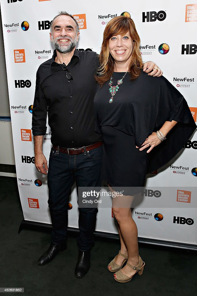 Filmmaker <a gi-track='captionPersonalityLinkClicked' href=/galleries/search?phrase=Karim+Ainouz&family=editorial&specificpeople=7530995 ng-click='$event.stopPropagation()'>Karim Ainouz</a> and Outfest Executive Director Kirsten Schaffer attend the 'Futuro Beach' Opening Night Screening - 2014 Newfest at The Film Society of Lincoln Center, Walter Reade Theatre on July 24, 2014 in New York City.