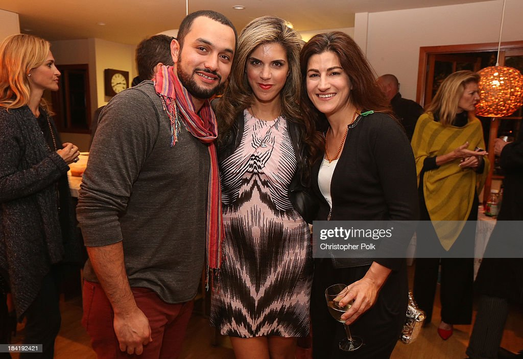 Filmmaker Karim Amer, Founder & CEO of Venus Media & PR Yasmine Shihata and filmmaker <a gi-track='captionPersonalityLinkClicked' href=/galleries/search?phrase=Jehane+Noujaim&family=editorial&specificpeople=234830 ng-click='$event.stopPropagation()'>Jehane Noujaim</a> attend the screening for 'The Square' at the home of Maria Bello on October 11, 2013 in Santa Monica, California.